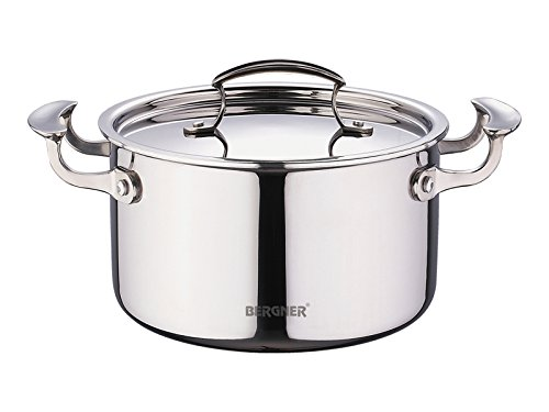 Bergner Triply Argent Saute Pan with Lid, Silver