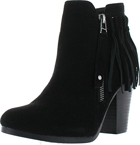 Breckelle's Gail-26 Women's Belted Chunky Stacked Heel Ankle Booties Black 8