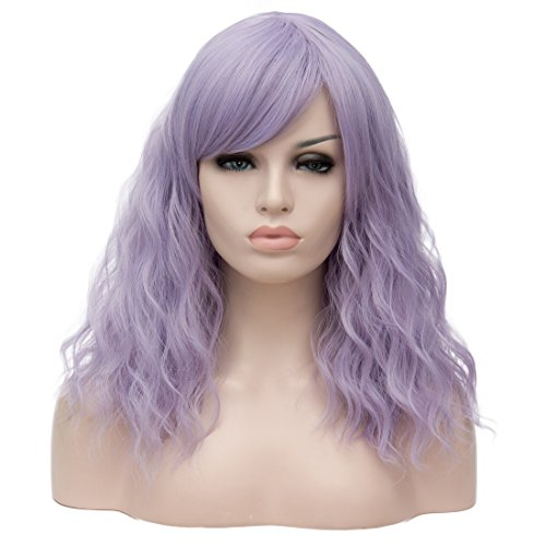 Amback Ombre Long Body Wave Wig Synthetic Cosplay Wigs For Women (45CM, Light Blue Purple F5)