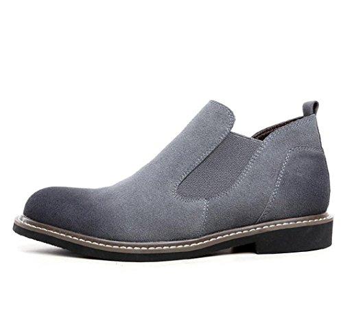 Heart&M casual y zapatos de cuero de ante de terciopelo frente puntiagudo de la alta corte varonil gray