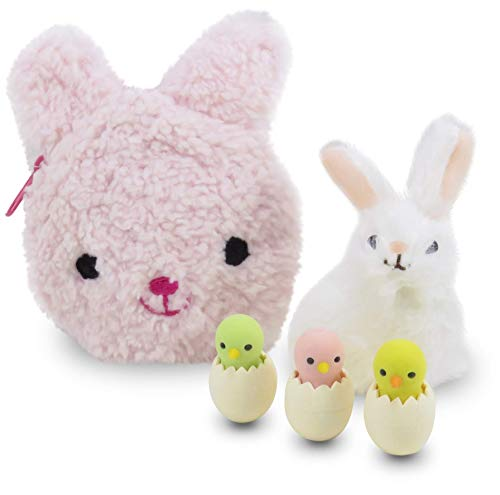 (Daiso Japan Easter Bunny Rabbit Coin Purse Pink with Bunny Figurine and Chick Erasers - Perfect 5 Piece Set for Girls )