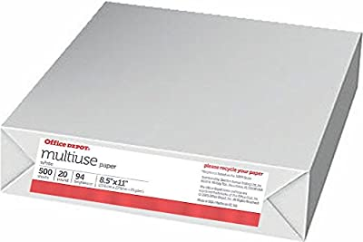 Office Depot Brighter White Office Paper, Multipurpose Copy Laser Inkjet, 8 1/2 x 11 inch Letter Size, 20 lb. Density, 94 Brightness, Acid-Free, Ream Packs