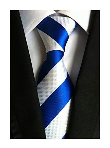 Men's Royal Blue White Fashion Striped Skinny Tie 3 Inches Silk Textured ()