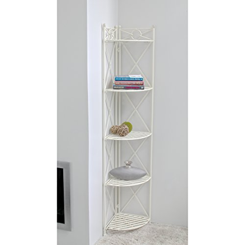 Indoor /Outdoor Folding Bakers Rack with 5-Tier Made with Wrought Iron/Metal in Antique White 73'' H x 12'' W x 12'' D by International Caravan
