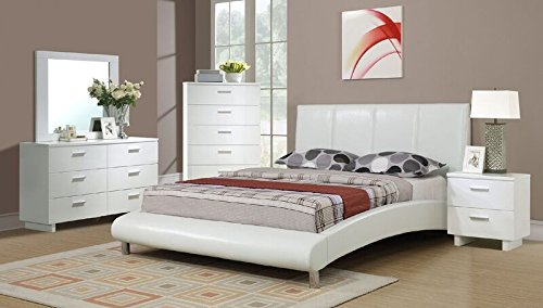 Queen Leather Sleigh - Queen Bed in White by Poundex