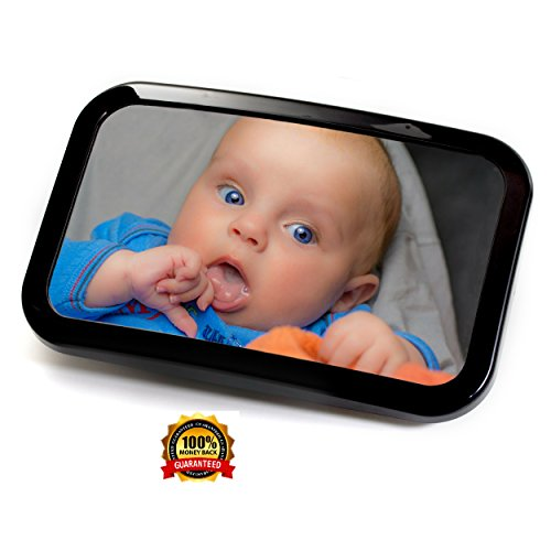 PINOPRIDE Baby Mirror - Baby Car Mirror - Rear View Car Back Seat Mirror - Rear Facing Car Seat Baby Mirror - Large Clear Most Stable Safety Backseat Shatterproof Glass - Safe Secure Fully Assembled