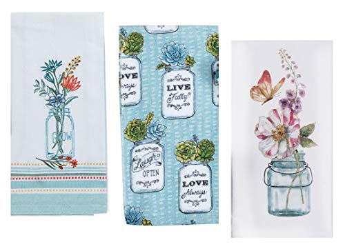 3 Mason Jar Themed Decorative Cotton Kitchen Towels Set with Blue, Green and Teal Print | 1 Flour Sack, 1 Terry and 1 Embroidered Tea Towel for Dish and Hand Drying | by Kay Dee Designs - Hand Embroidered Dish Towel