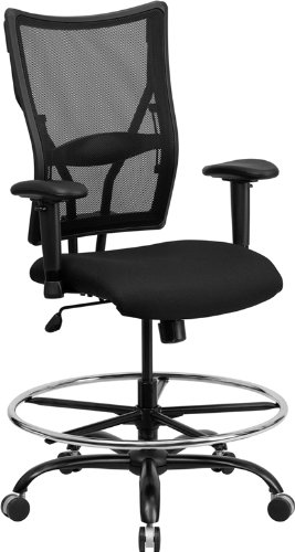 - Big & Tall 400lb Mesh Back Home Office Drafting Bar Counter Stools Chairs W-adj. Lumbar Support & Arms Seat Height 20-26