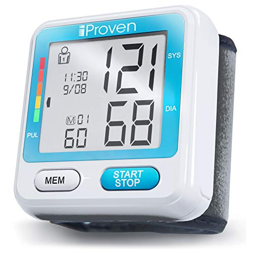 [New 2019 Model] iProven Blood Pressure Machine - BP Cuff for Wrist - with 2x90 Memories - Blood Pressure Cuff - Protective Case and Batteries Included - BPM-317 Wrist Blood Pressure Monitor (Best Blood Pressure Monitor 2019)
