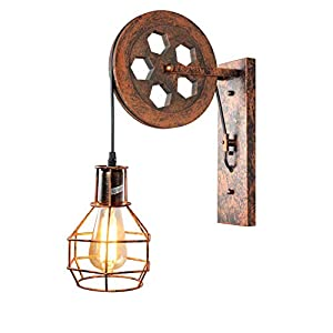 1 Light,Industrial Retro Iron Wall Lamp Creative Personality Lift Pulley Wall Lights Fixture for Indoor Lighting Barn Restaurant in Rust Finished by ZPKelin