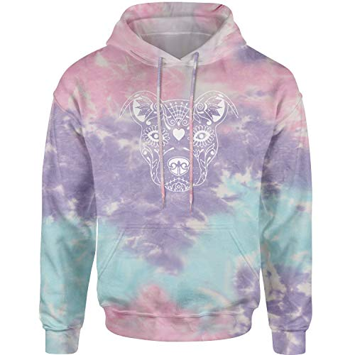 Hoodie Pitbull Sugar Skull Day of The Dead Adult X-Large Cotton -