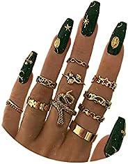 Gold Boho Ring Sets Stackable Knuckle Ring Vintage Snake Finger Rings Set Stacking Joint Midi Rings Sets for W