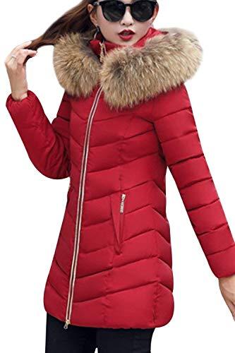 Biran Hot Eleganti Incappucciato Rot Giaccone Grazioso Donna Lunga Addensare Accogliente Cerniera Manica Cappotto Outerwear Dunkel Invernali Con Pelliccia Parka Pkn0wO