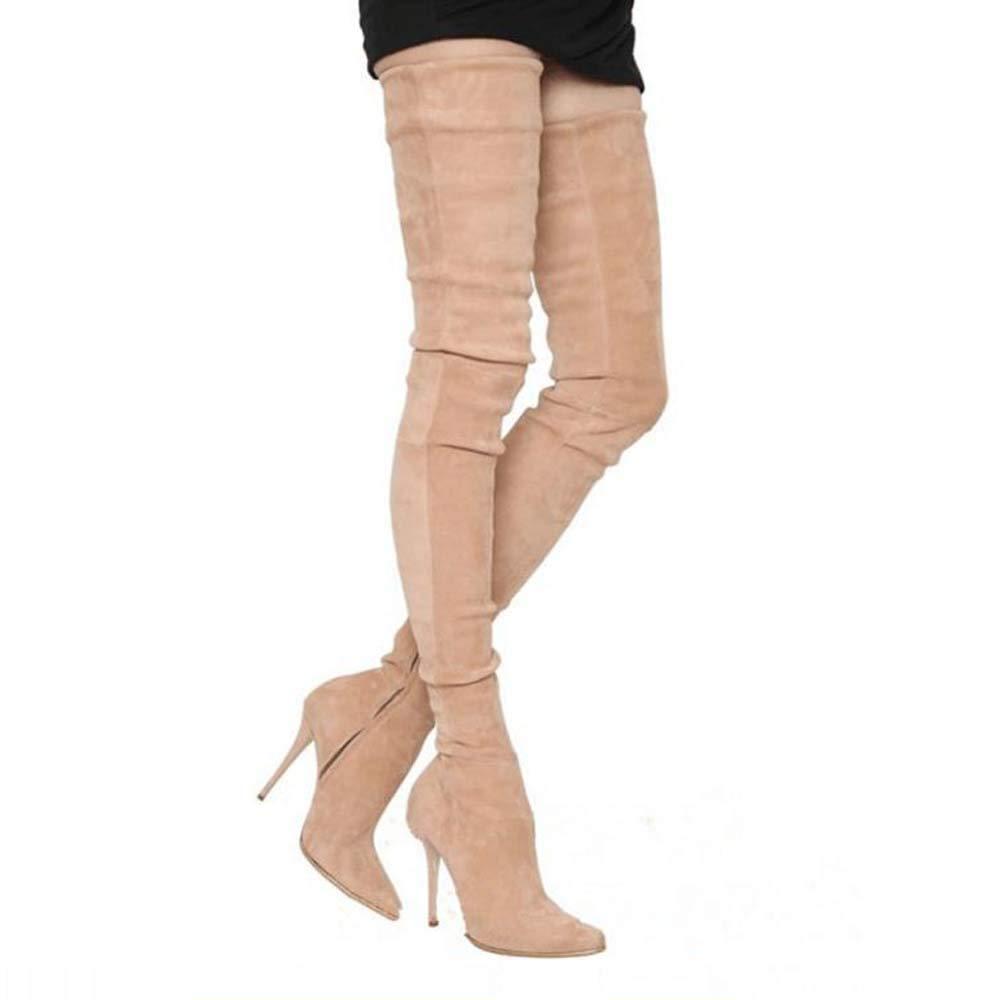 GONGFF Knight Overknee Stiefel Stiletto Lange Stretch-Stiefel Damen Stiefel