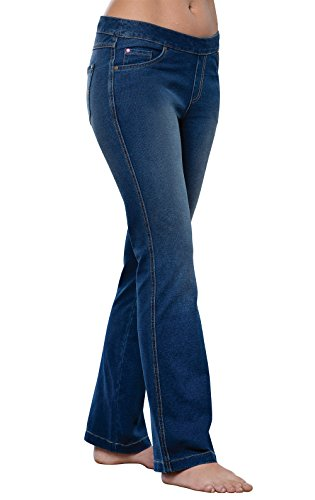 PajamaJeans Women's Bootcut Stretch Knit Denim Jeans, Bluestone Wash, 1X 16-18W