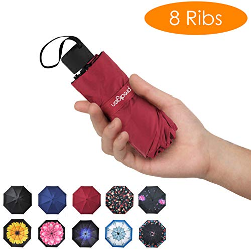 Prodigen Travel Mini Umbrella Windproof UV Folding Compact Umbrella Portable Lightweight Sun & Rain Umbrellas for Women and Men (Wine Red)