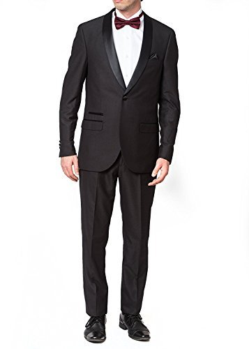 West End Men's 93401 Slim Fit One Button Satin Shawl Collar Tuxedo Suit - Black - 40S by WESTEND