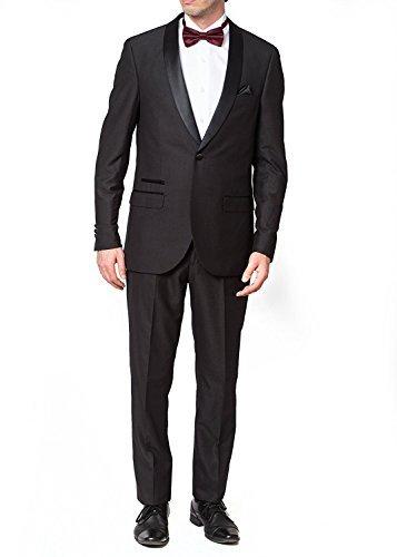 West End Men's 93401 Slim Fit One Button Satin Shawl Collar Tuxedo Suit - Black - 40S