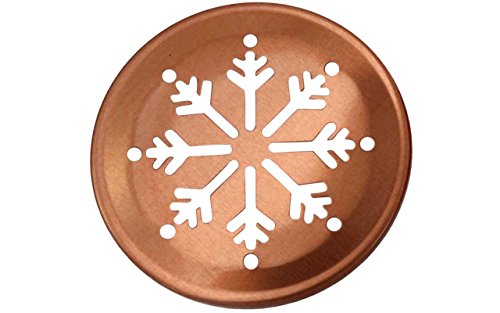 Copper Snowflake Cutout Lid Inserts for Mason, Ball, Canning Jars (10 Pack, Regular (Snowflake Candle Tin)