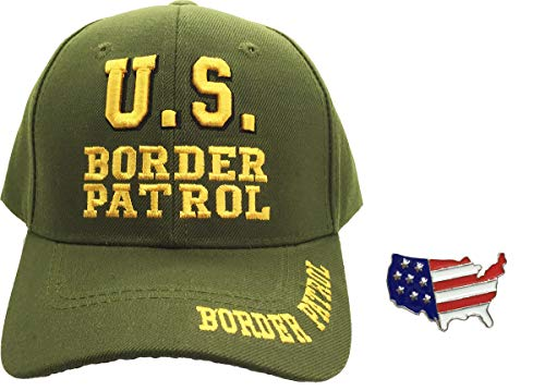 US Border Patrol Law Enforcement, 3D Embroidered Adjustable Baseball Cap Hat Bundle w/US Flag Hat Pin
