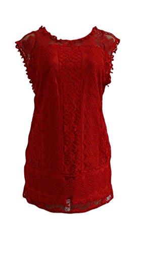 Jaycargogo Dentelle Femmes Crochet Robes Ras Du Cou Rouge Sans Manches