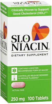 Slo-Niacin 250 mg, Polygel Controlled Release Tablets - 100ct, Pack of 6 by Slo-Niacin