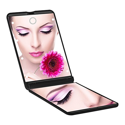 Pocket Makeup Mirror With LED Light (Black) - 4