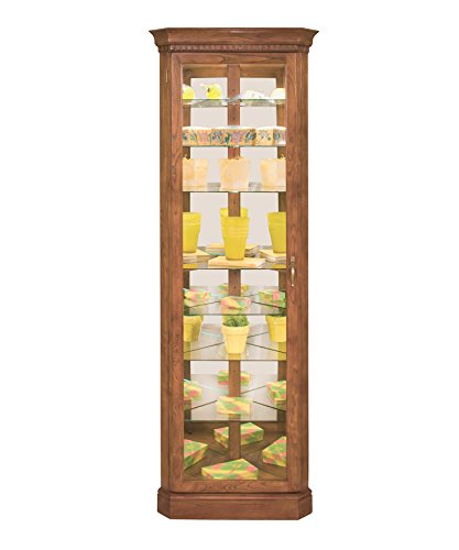 Shelf Cabinet Curio Eight Corner (Philip Reinisch Co. Lighthouse Octave Eight-Shelf Corner Curio Cabinet, Old Oak Finish)