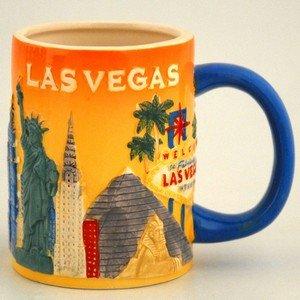 11 Oz Sculpted Ceramic Mug - Las Vegas Coffee Mug Dolomite Raised Surface Sculpted Orange