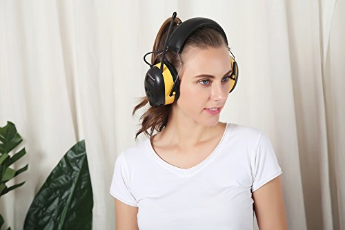 ZOHAN Digital AM/FM/MP3 Radio Earmuff, Noise Reduction Hearing Protector For Mowing, Snowmobiling, Sporting Events (Yellow) by ZOHAN (Image #5)