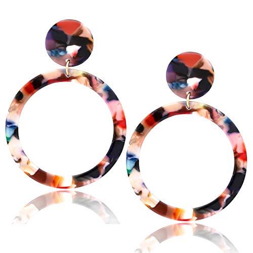 Red Circular Earring - Acrylic Hoop Earrings Mottled Resin Earrings Textured Open Circle Statement Stud Earrings for Women Girls (F Red Flower)