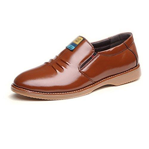LYZGF Hommes Jeunes Affaires Occasionnels Mode Gentleman Dentelle Chaussures en Cuir Yellow ut7uyruKDj