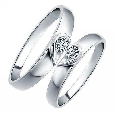 Großartig Chandrika Pearls Gems U0026 Jewellers Valentine Silver Real Diamond Couple Ring  With Platinum Polish