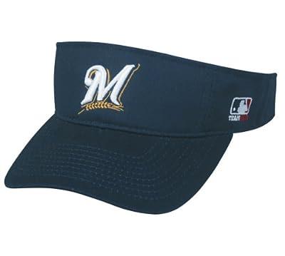 MLB ADULT Milwaukee BREWERS Home NAVY BLUE VISOR Adjustable Velcro TWILL