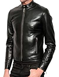 World Of Leather Men's Black Slim Fit Shiny Biker Leather Jacket