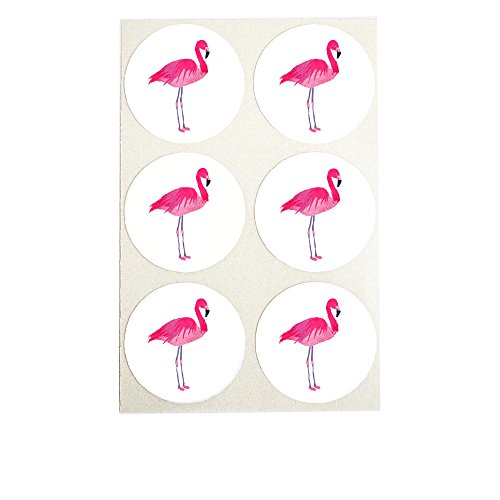 Watercolor Pink Flamingo Stickers, Round Envelope Seals, Party Favor Labels, Cupcake Toppers for Summer Themed Parties, by Once Upon Supplies, 1.5