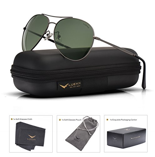 LUENX Aviator Sunglasses Polarized for Men & Women with Case - 400 UV Green Lens Metal Gloss Gun Grey Frame Colored - Used Pilots By Sunglasses