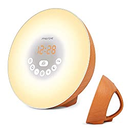 MOSCHE Sunrise Alarm Clock, Digital Clock, Wake Up Light 6 Nature Sounds, FM Radio Touch Control (Brown-Wood)