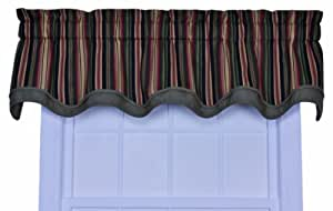 Ellis Curtain Montego Stripe Bradford Valance Window Curtain, Black