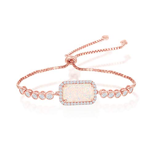 - Sterling Silver Rose Gold Plated Created White Opal with Cubic Zirconia Adjustable Bolo Bracelet