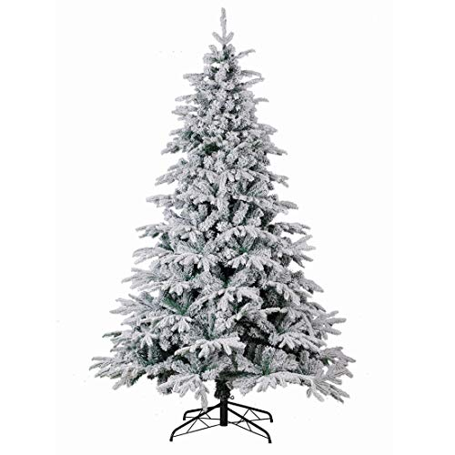 Good Life Christmas Tree PE PVC Premium Hinged Deluxe Artificial Fir Flocked Snow White (7.5' FT, Flocked) (Deluxe Christmas White Tree)