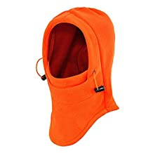 Ezyoutdoor 5 pcs Winter Thermal FLEECE Swat Ski Neck Hoods Full Face Mask Cover Hat Cap for Riding Cycling Hunting Fishing Walking Outdoor Sports (orange)