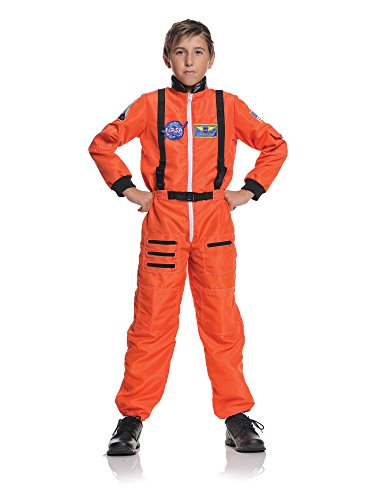 Underwraps Big Boy's Underwraps Boy's Astronaut Costume - Orange, Medium Childrens Costume, orange, (Orange Jumpsuit Costumes)