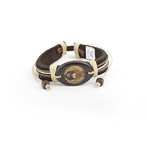 Adjustable Genuine Leather Bracelet - Crane Motif (Crane Motif)