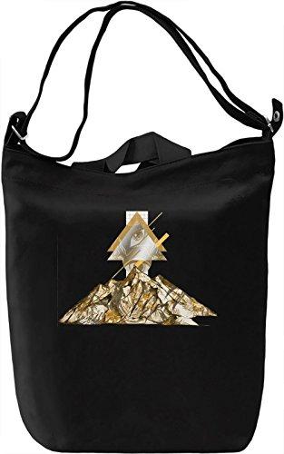 Illuminati Mountain Borsa Giornaliera Canvas Canvas Day Bag| 100% Premium Cotton Canvas| DTG Printing|