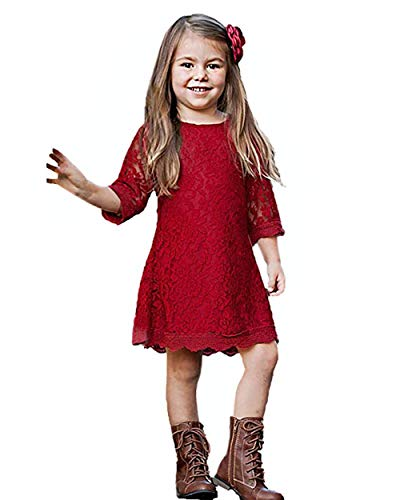CVERRE Flower Girl Lace Dress Christmas Dresses 3/4 Sleeves Size 10 (Red, 170) -