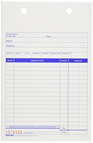Rediform Carbonless Sales Forms for Registers, Triplicate...