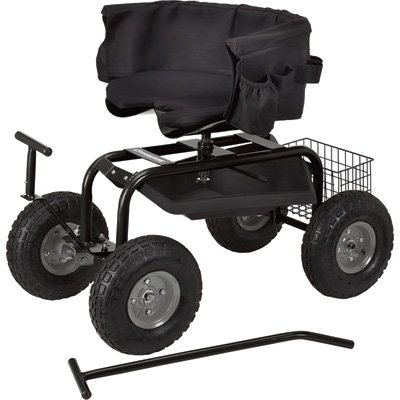 Strongway Deluxe Rolling Garden Seat with Easy Change Turnbars (Utility Seated Stool)