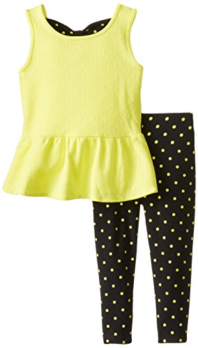 Nicole Miller Little Girls' Peplum Tunic with Printed Legging Set, Butter Cup, 3T