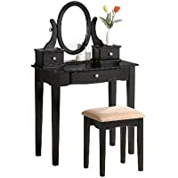 Bobkona Abana Vanity Set with Stool, Black